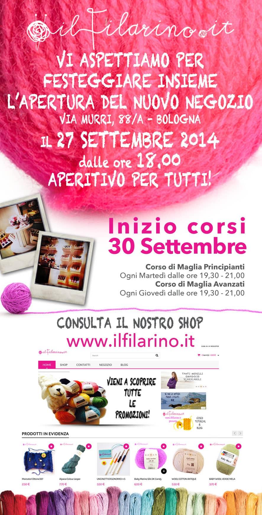 ilfilarino - newsletter - inaugurazione negozio bologna filati 2014